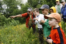 children exploring natural space